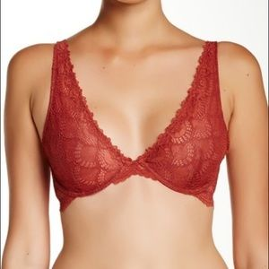 Free People Lace Plunge Bra Red 32C